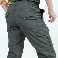 Szybkie suche spodnie na co dzień mężczyźni lato armia styl wojskowy spodnie męskie taktyczne spodnie w stylu Cargo męskie lekkie wodoodporne spodnie