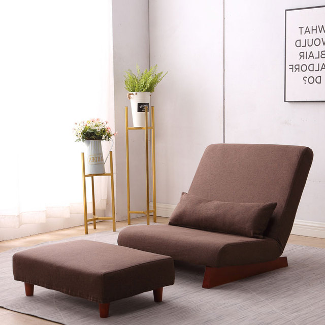Floor Folding Single Sofa Chair  With Ottoman Japanese Style Lounge Recliner Occasional Accent Chair For Living Room Furniture 2