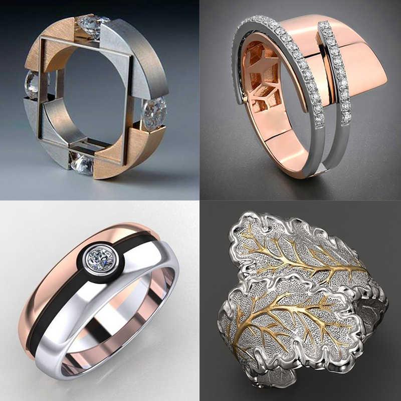 ユニークなスタイルの女性クリスタルラウンド指は結婚指輪の約束愛の婚約指輪女性のための