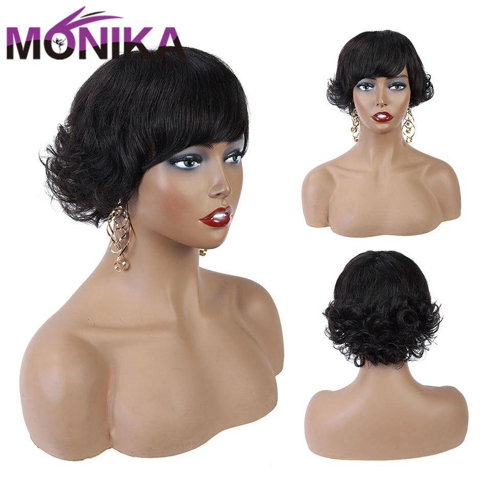 Monika Peruvian Short Pixie Cut Wig Human Hair Non-Remy Short Wavy Wig Natural Full Machine Cheap Wigs Free Shipping For Women