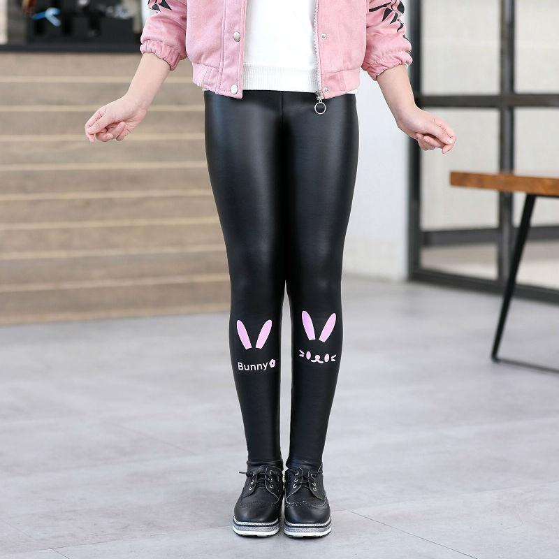 Girls Faux PU Leather Leggings Winter Thick Fleece Lined Skinny Pants Cartoon Print Kids Stretchy Legging Black 3