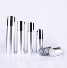 50 ml UV prata sem ar garrafa loção bomba de vácuo com bomba e base inferior de prata usado para Recipiente Cosmético