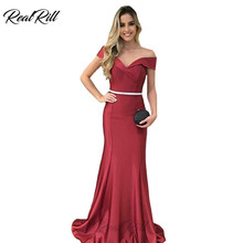 Real Rill Off The Shoulder Mermaid Evening Dress 2019 Long Satin Lace Up Back Gown With Sash Formal For Party