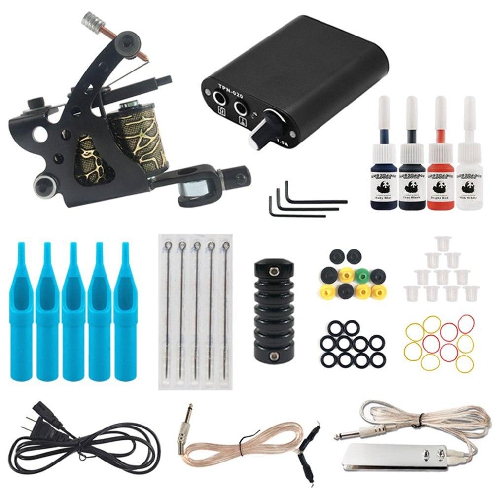 Starter Tattoo Machine Kit Set 1 Coils Guns Colors Pigment Inks Sets Black Power Tattoo Beginner Grip Kit(China)