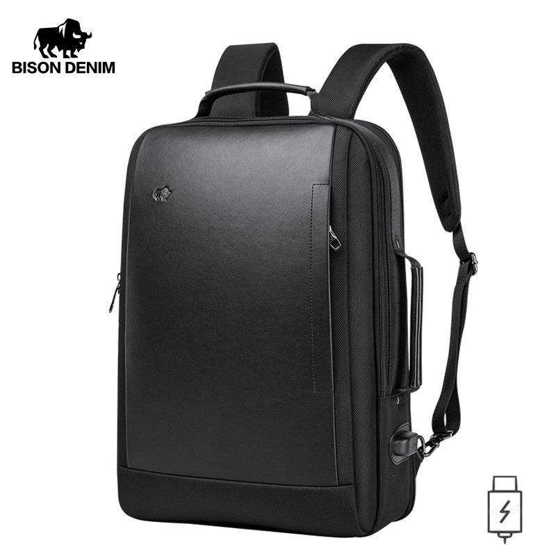 BISON DENIM Waterproof Backpack USB Design Rucksack 17 Inches Laptop Backpack For Teenager Travel Male Bag Mochia N2971
