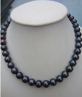 AAA 9 10mm natural tahitian black pearl necklace 925silver gold 18 inch