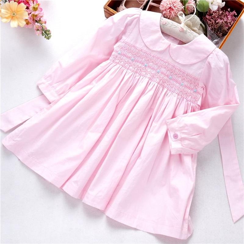 Spirng Girls Dresses Long Sleeve Pink Bishop Smocked Handmade Embroidery Princess Boutiques Children's Clothing L19112758