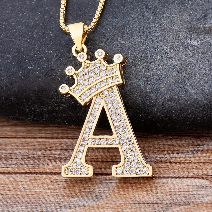 Nuovo lusso zircone rame A-Z corona alfabeto ciondolo catena collana Punk stile Hip-Hop moda donna uomo nome iniziale gioielli 1