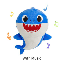 Baby Cartoon Shark Soft Doll Stuffed Plush Toys Mommy Daddy Singing English Whole Song for 80 Seconds