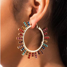 New Arrival Women Fashion Shiny Rhinestone Sunshine Charm Hoop Earrings Jewelry Hot Sale Trendy Statement Earrings Accessories(China)