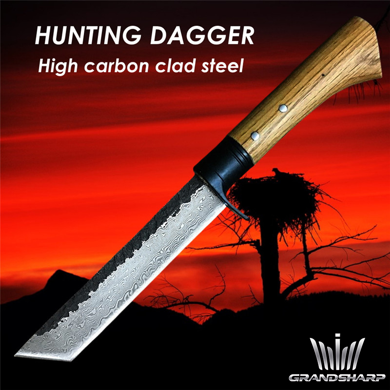 Hunting Knife Handmade Forged Hammered Chef Kitchen Knives Cleaver Outdoor Camping Dagger Machete Slaughter Tools Retro Style