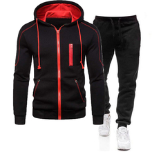 2021 Men's Autumn Winter Tracksuit Zipper Hoodie and Pants 2 Piece Casual Sportswear Jogger Suit Fitness Sweatshirt Cardigian