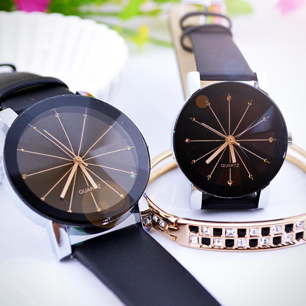 Fashion Men Women Watch Faux Leather Band Wristwatch Round Pointer Couple Quartz Watches Lover's Watch Clock Gift Zegarek Damski