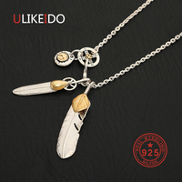 925 Sterling Silver Necklace For Men Golden Leaf Feather Charms Eagle Pendant Chain New Fine Jewelry P23