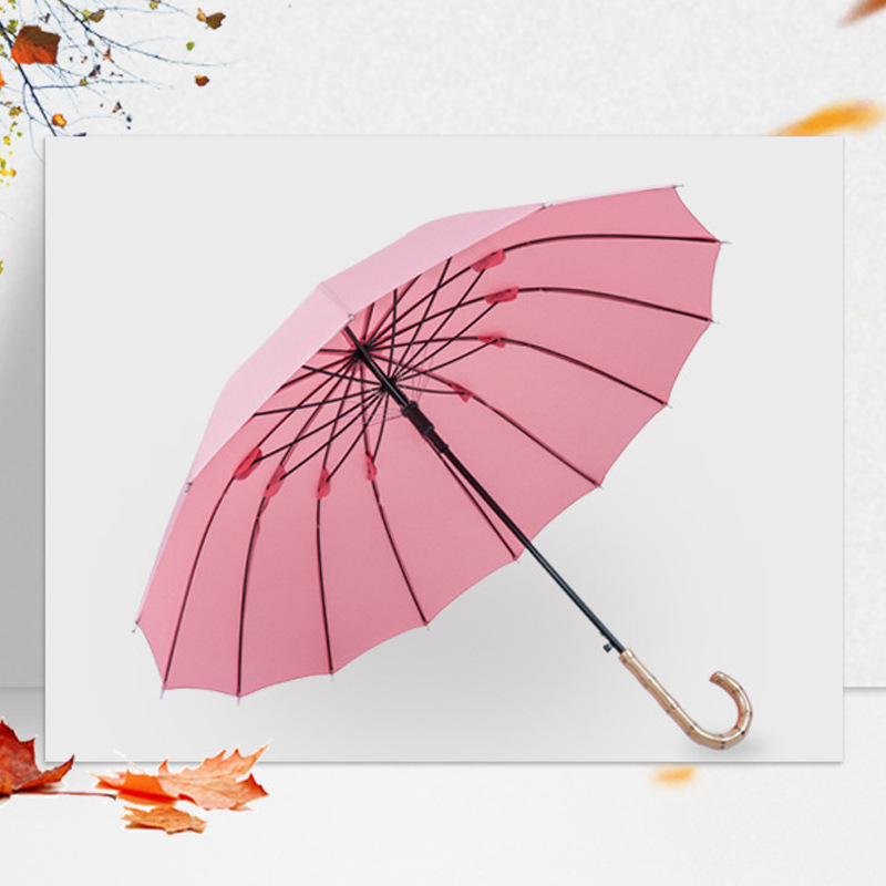 Manufacturers Direct Selling Hipster 14 Bone Faux Bamboo Joint Curved Handle Straight Pole Self-opening Umbrella Reinforced Wind