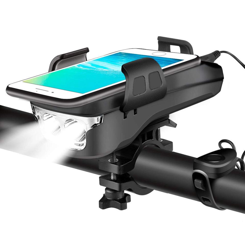 USB Rechargeable <font><b>Bike</b></font> Headlight, 4 in 1 Waterproof Bicycle Light <font><b>with</b></font> <font><b>Bike</b></font> Horn & <font><b>Phone</b></font> <font><b>Holder</b></font> & <font><b>Power</b></font> <font><b>Bank</b></font> Cycling Safety Light image