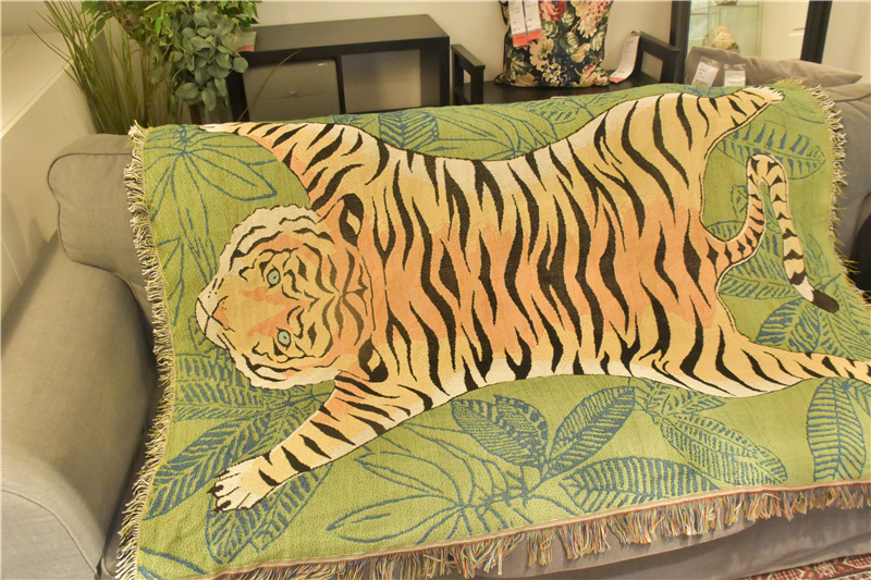 Nordic Creative Tiger Throw Blanket Soft Tapestry Leaves Blanket Mat Decor Multifunction Animal Sofa Covers Dust Cover Blankets(China)
