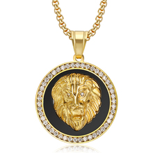 Hip Hop Iced Out Full Bling Lion Head Pendant & Chains For Men Gold Color Stainless Steel CZ Round Necklace Jewelry Dropshipping hip hop iced out bling horse head pendants necklaces for men gold color stainless steel round cz necklace jewelry dropshipping