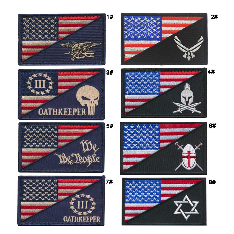 Amazon EBay Top American Flag Embroidered Velcro Shoulder Emblem Seal Cloth Sticker Patch