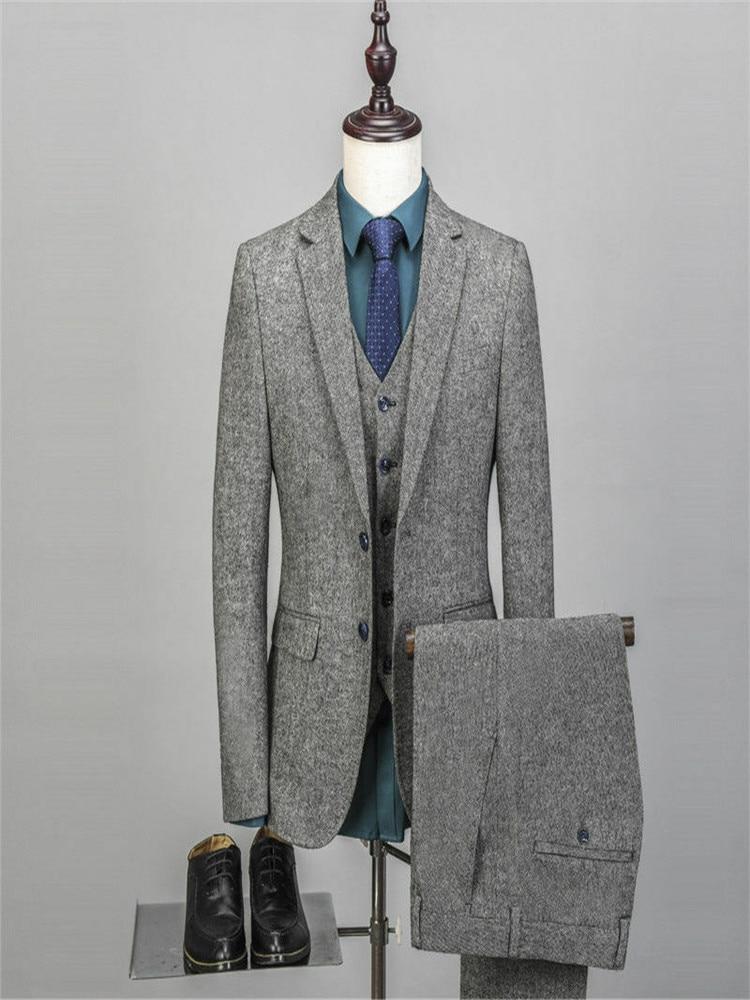 Men's Vintage Suit 3 Pieces Tweed Fleck 2 Button Wool Gray Custom New