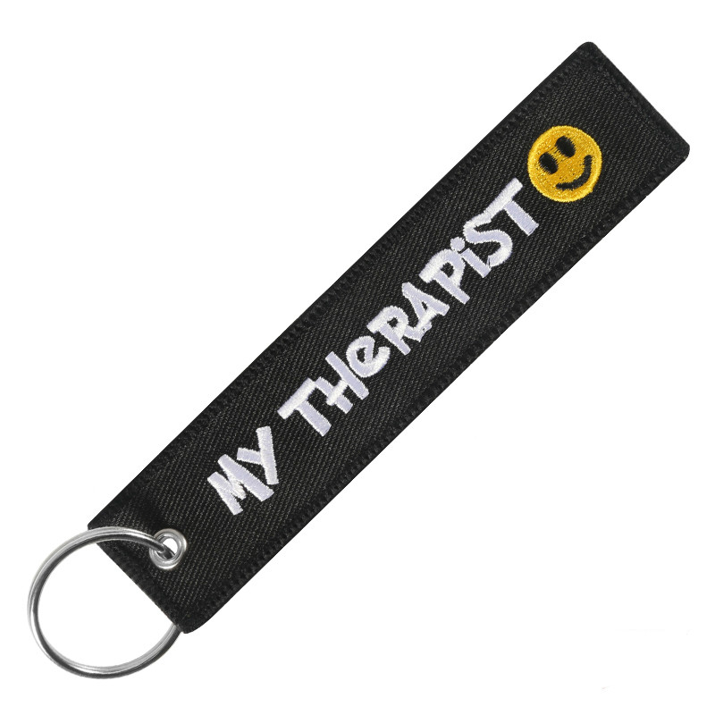 My Therapist Key Chains For Cars And Motorcycle Black Embroidery Key Ring Chain For Motor Gifts Keychain Holder Jewelry Llavero