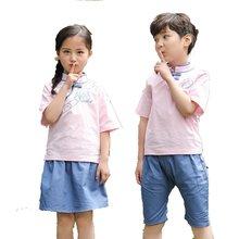 Школьная униформа для детей хлопковая Униформа с коротким рукавом