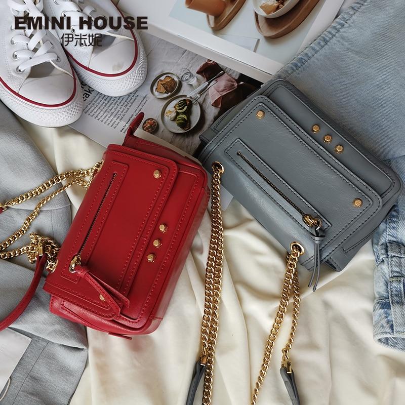 EMINI maison huile cire cuir moto sac fendu en cuir chaîne sac bandoulière sacs pour femmes sacs à bandoulière Vintage dame sac à main - 2