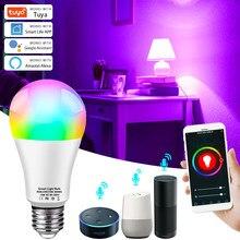 Tuya WiFi inteligente bombilla de luz 10W 15W RGB bombilla LED E27 B22 Compatible con Alexa Google Tuya vida inteligente aplicación de Control de la lámpara RGB