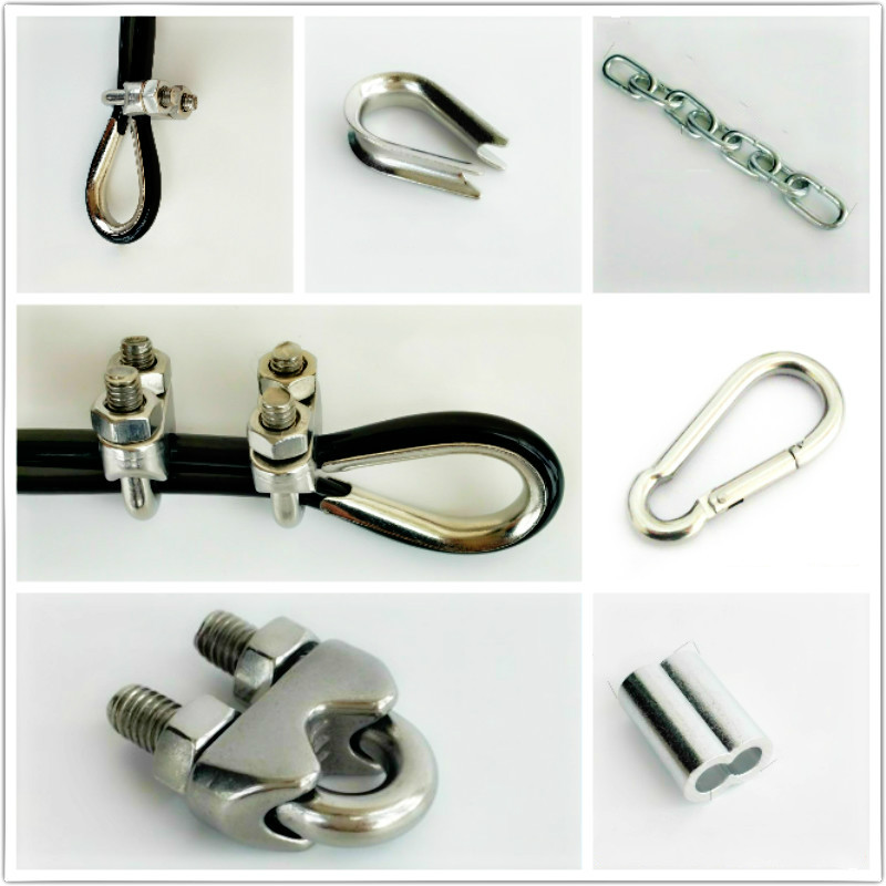 Gym DIY Home-Made Accessories Wire Rope Locks Stainless Steel Rings Joints Double-Hole Fixing Sleeves Iron Chains Metal Buckles