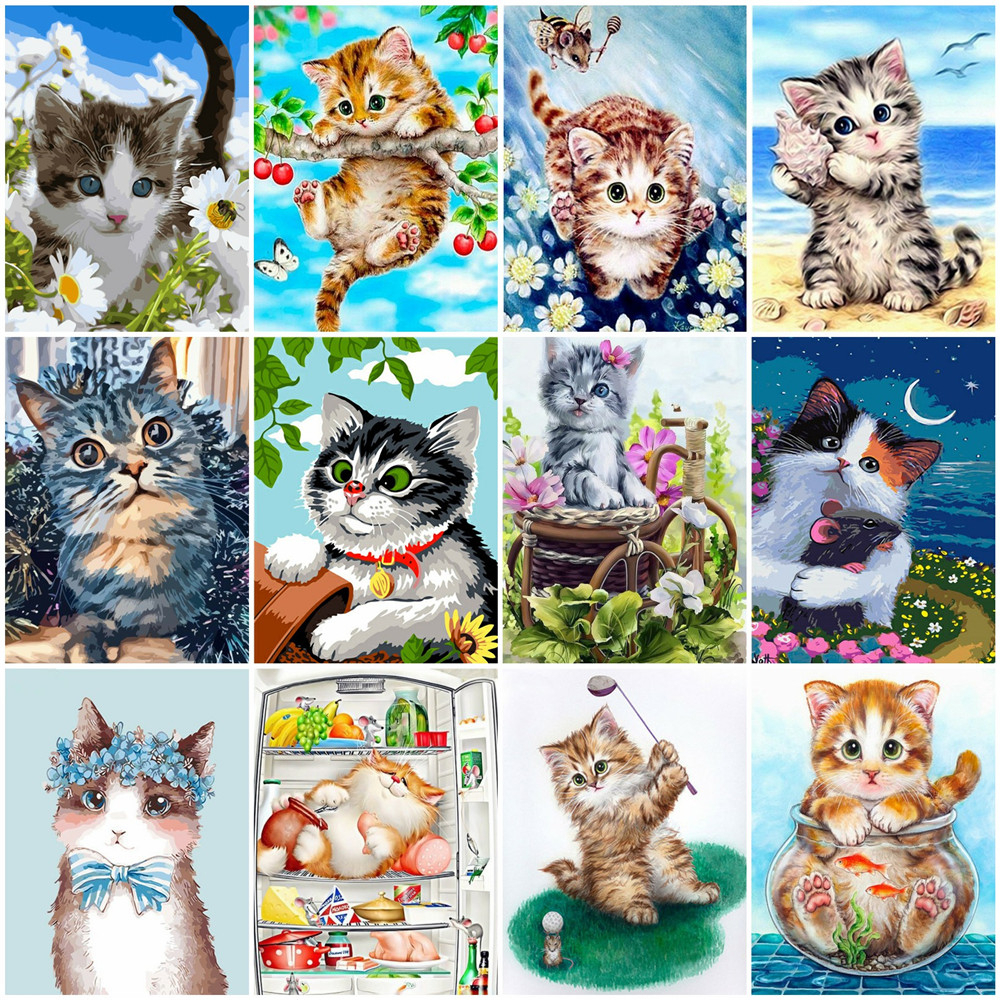 HUACAN Paint By Number Cat Animal HandPainted Art Gift DIY Pictures By Number Cartoon Kits Home Decor Drawing On Canvas