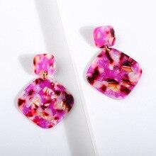 2020 Big Purple Square  Acrylic Dangle Earrings for Women Fashion Za Resin Pendantes Oorbellen Drop Earrings Jewelry Accessories