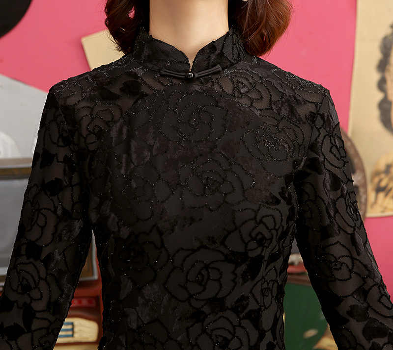Long sleeve Cheongsam Novelty Chinese style Dress Womens Satin Slim Party Dresses Handmade Button Vestido Size M-3XL