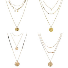 Queen Coin Gold Color Sequins Long Layered Necklaces For Women Bohemia Chain Choker Necklace Pearl Jewelry Gifts gold color hanging portrait coin chain choker necklace female layered charms pendant chokers necklaces bohemia jewelry