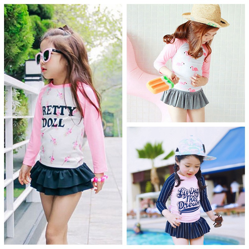 Hot Selling Korean-style Medium-small Children Split Skirt-Long-sleeved Swimsuit GIRL'S Diving Suit Barbie Flamingo Swimwear