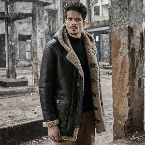 Image 2 - Veste peau de mouton hommes manteau de fourrure en cuir véritable veste matelassée original écologique shearling hommes manteaux rétro parka anti froid