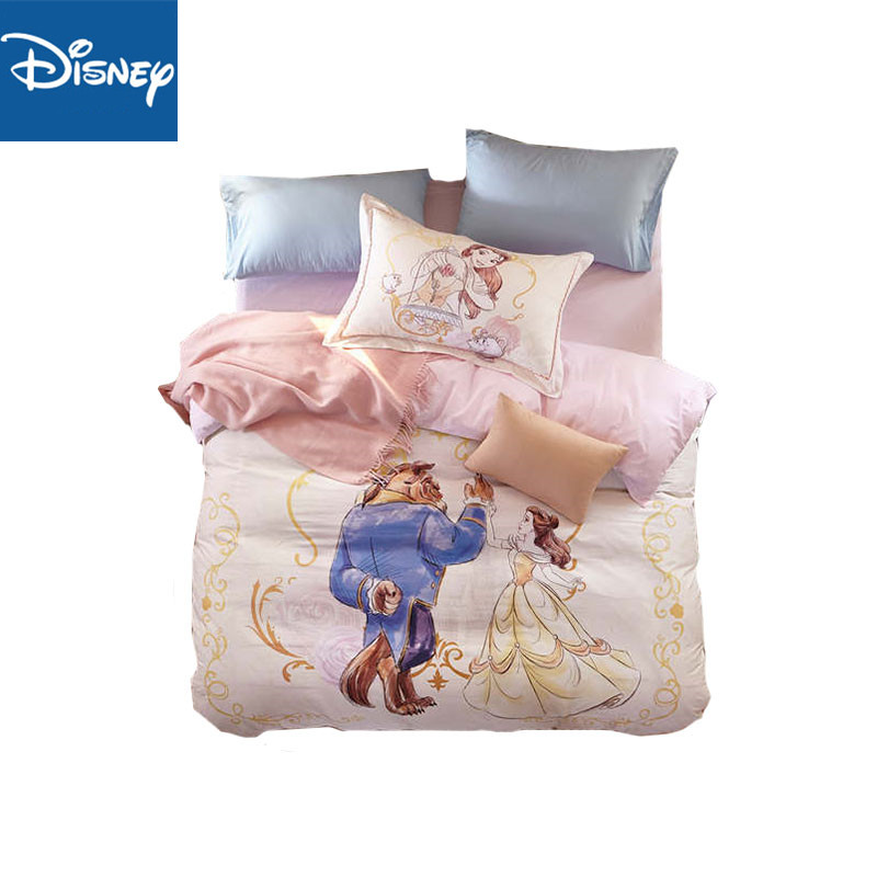 Beauty And The Beast Comforter Bedding Set Full Size Duvet Covers For Kids Twin Bedspread Bed Linen 3-4pcs Children Home Textile