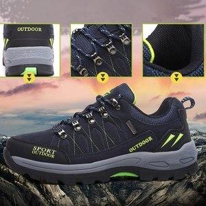 Image 2 - プラスサイズ耐久性のあるアウトドアハイキングシューズメンズレディース牛スエードトレッキング登山靴防水ノンスリップ戦術的なハイキングスニーカー