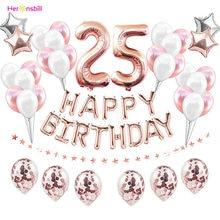 38 pçs adulto 25 anos de idade balões látex conjuntos 25th feliz aniversário decorações de festa número 25 suprimentos ouro rosa homem mulher