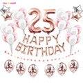 38 шт. номер 25 лет воздушных шаров из латекса 25th Happy День рождения украшения из розового золота 52 52th для взрослых мужские и женские