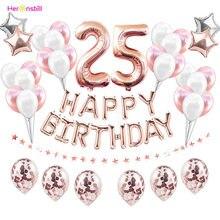 Conjunto de balões laminados de látex, kit de balões de festas de feliz aniversário adulto 25 anos de idade suprimentos para aniversário balão rosa dourado