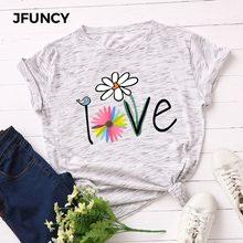 JFUNCY – T-shirt à manches courtes pour femme, hauts val et ample, avec impression créative, 100% coton