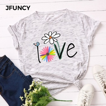 JFUNCY Summer Women T Shirt Plus Size Creative Print Tee Tops 100% Cotton Short Sleeve Woman T-shirt Casual Loose Female Tshirt jfuncy funny hedgehog print plus size women t shirt woman t shirt summer cotton short sleeve female tees lady tops casual tshirt