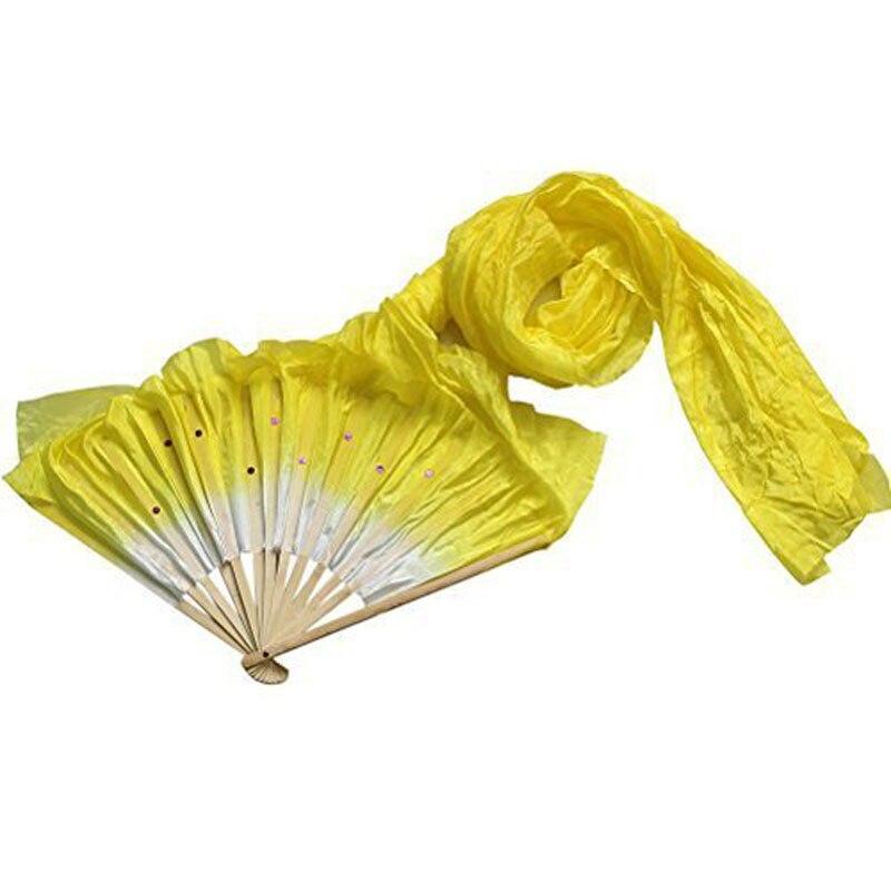 1.8m Fatto A Mano Del Ventre Colorato Danza di Bambù Lunga Ventole Veli di Seta Fan Danza MU8669