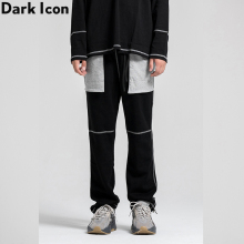 Dark Icon Big Color Contrast Pockets Mens Sweatpants Adjustable Leg Opening Jogging Pants Men High Street Black
