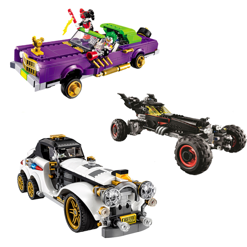 Compatible With Legoinglys Batman Movie 3Set 1297 Pcs Joker`s Lowrider Penguin Classic Robbin`s Car Building Blocks Bricks Toys