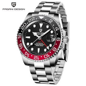 2020 New PAGANI DESIGN Luxury Men GMT Automatic Machinery Watch 40MM Ceramic bezel Jubilee Strap Sapphire 100M Waterproof Clock - Black red 2