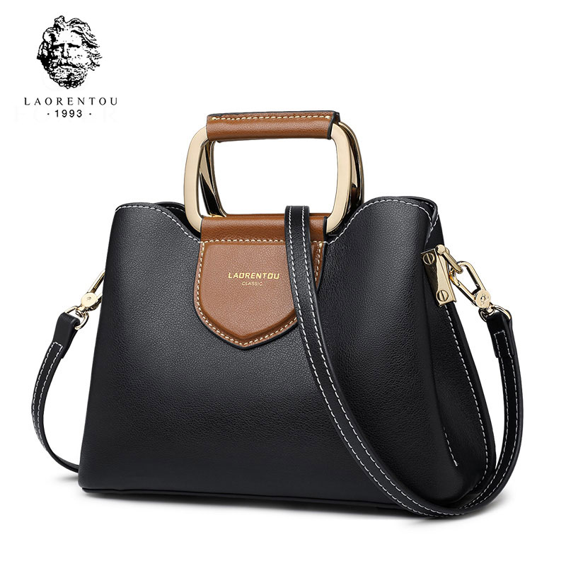 LAORENTOU Retro Cowhide Leather Women Bags Designer Female Purse Commuter Style Messenger Bag for Lady High Quality Brand Bag