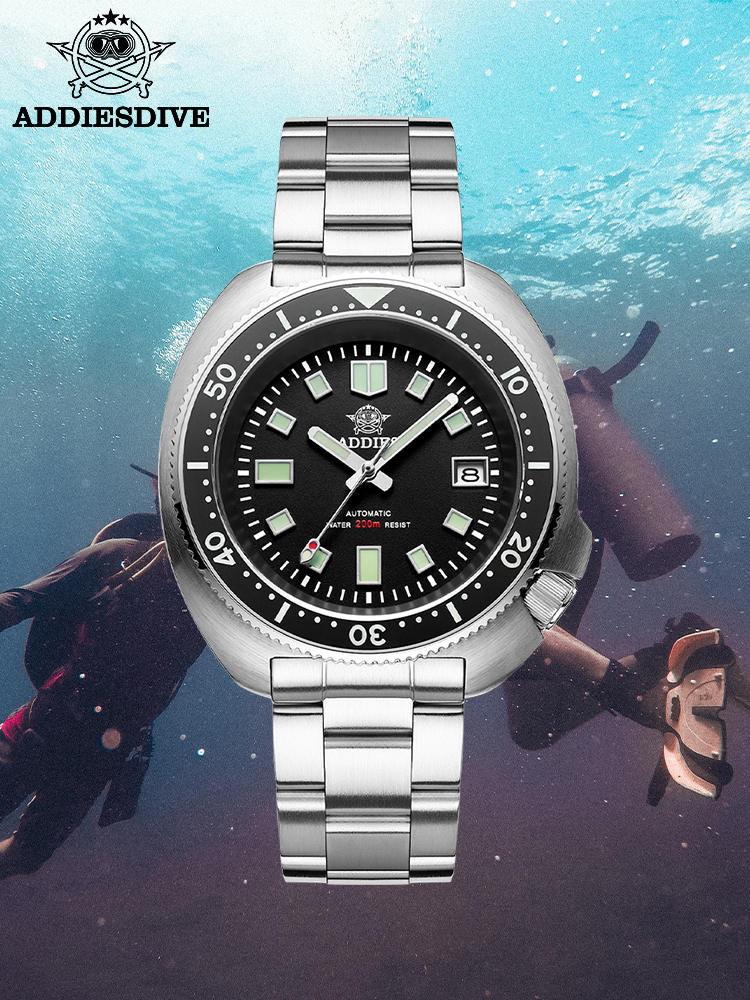 Men's Watch Crystal-Calendar Diving 1970 Abalone Mechanical-Steel Sapphire Nh35 Automatic