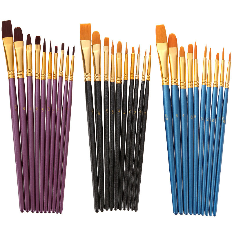 Hot 10Pcs Professional Paint Brushes Set Nylon Hair Painting Brush Short Rod Oil Acrylic Brush Watercolor Pen Kids Art Supplies