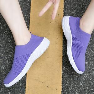 Image 3 - Moipheng 2020 Women Sneakers Vulcanized Shoes Sock Sneakers Women Summer Slip On Flat Shoes Women Plus Size Loafers Walking Flat